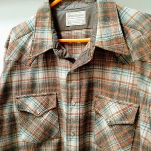 Pendleton LS wool vintage Western snap XL brown